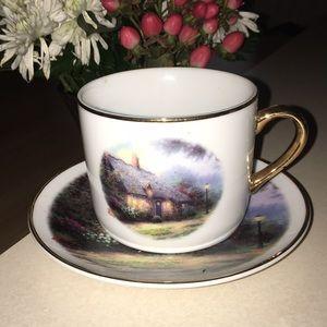 Thomas Kincade moonlight cottage teacup & saucer